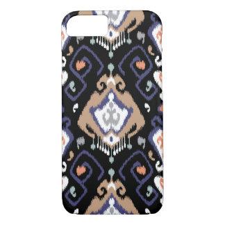Chic modern dark ikat tribal pattern iPhone 7 case