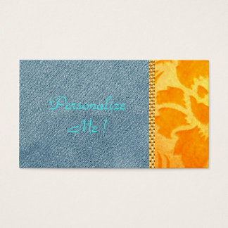 Chic Modern Denim Gold Damask Wedding Trendy Business Card