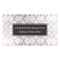 Chic Modern Faux Rose Gold Geometric Triangles Business Card