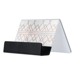 Chic Modern Faux Rose Gold Geometric Triangles Desk Business Card Holder