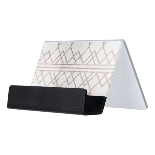 Chic modern faux rose gold geometric triangles desk business card chic modern faux rose gold geometric triangles desk business card holder colourmoves