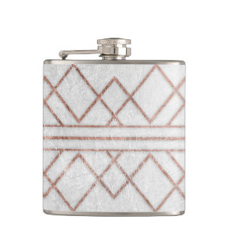 Chic Modern Faux Rose Gold Geometric Triangles Flask