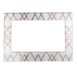 Chic Modern Faux Rose Gold Geometric Triangles Magnetic Photo Frame