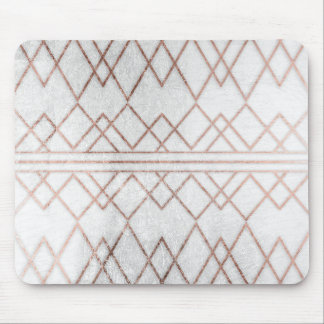 Chic Modern Faux Rose Gold Geometric Triangles Mouse Pad