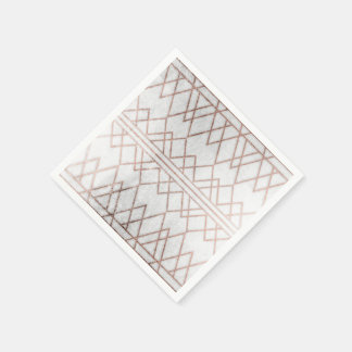 Chic Modern Faux Rose Gold Geometric Triangles Paper Napkin