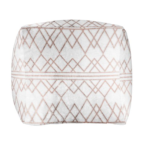 Chic Modern Faux Rose Gold Geometric Triangles Pouf