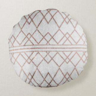 Chic Modern Faux Rose Gold Geometric Triangles Round Pillow