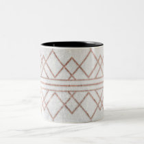 Chic Modern Faux Rose Gold Geometric Triangles Two-Tone Coffee Mug