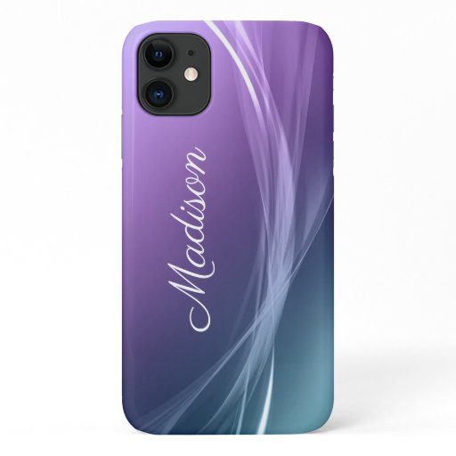 Chic Modern Girly Purple Ombre Swish Name iPhone 11 Case