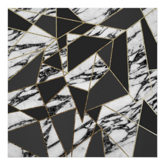 Chic Modern Gold Marble and Black Geometric Poster