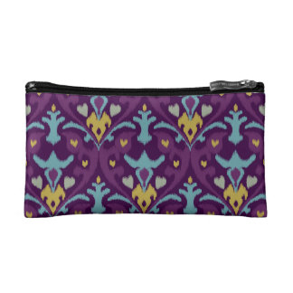 Chic modern gold purple ikat tribal pattern cosmetic bags