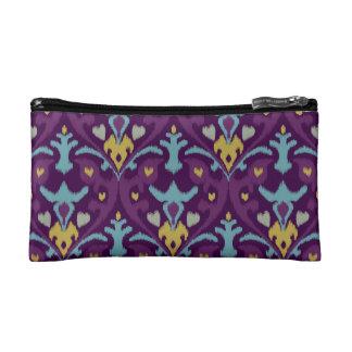 Chic modern gold purple ikat tribal pattern makeup bag