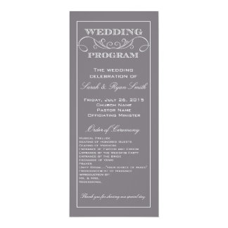 Chic Modern Gray Swirl Wedding Program Custom Invite