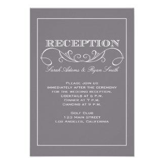 Chic Modern Gray Wedding Reception Invitation