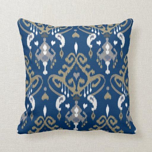 Modern Chic Pillows : Chic modern grey blue ikat tribal pattern throw pillows Zazzle
