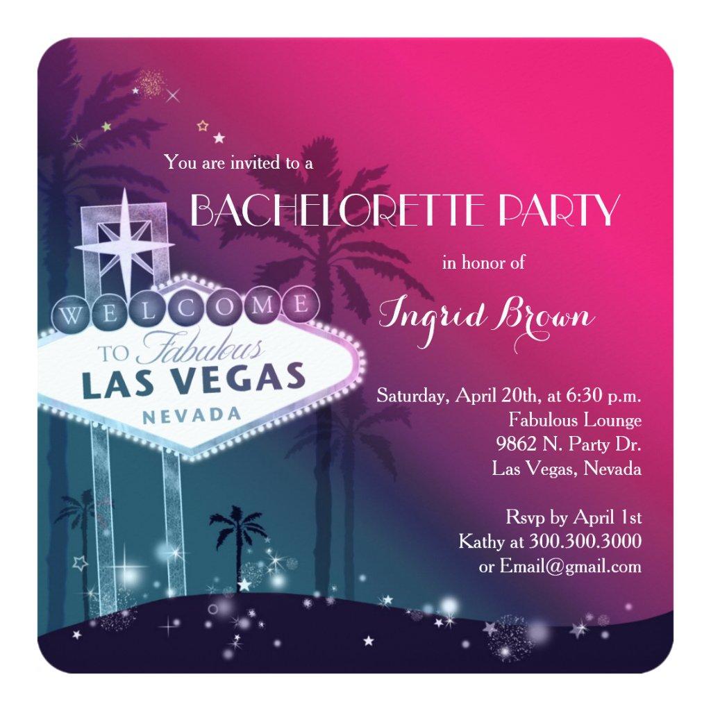 Chic Modern Las Vegas Bachelorette Party Invitation