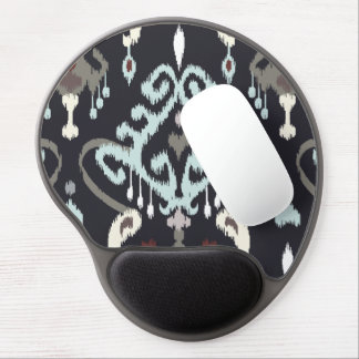 Chic modern light blue black ikat tribal pattern gel mouse pad