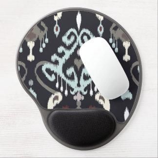 Chic modern light blue black ikat tribal pattern gel mouse pad