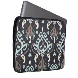 Chic modern light blue black ikat tribal pattern laptop sleeve