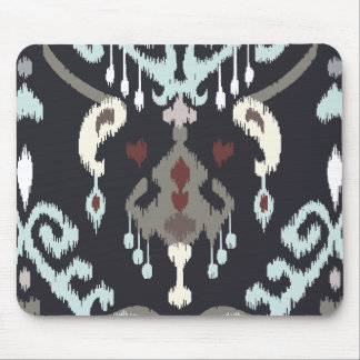 Chic modern light blue black ikat tribal pattern mouse pad