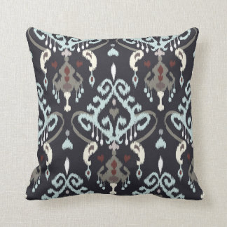 Chic modern light blue black ikat tribal pattern throw pillow