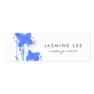 chic modern makeup artist watercolor blue budget mini business card
