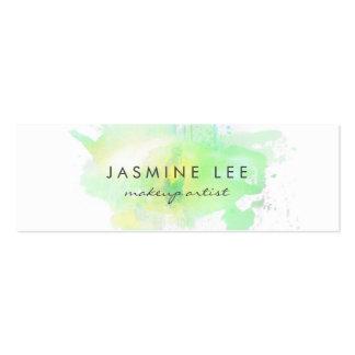 chic modern makeup artist watercolor green budget mini business card