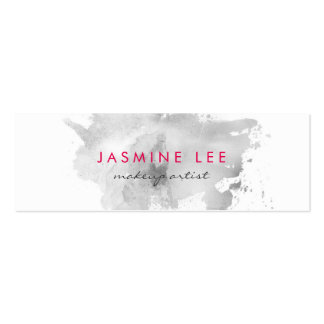 chic modern makeup artist watercolor grey budget mini business card