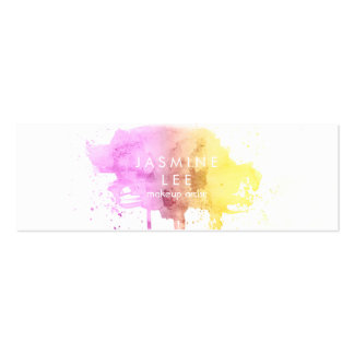 chic modern makeup artist watercolor ombre budget mini business card