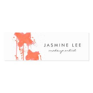 chic modern makeup artist watercolor orange budget mini business card