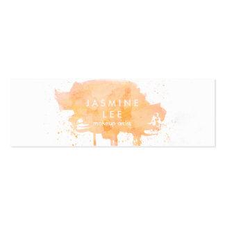 chic modern makeup artist watercolor peach budget mini business card