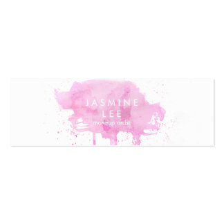 chic modern makeup artist watercolor pink budget mini business card