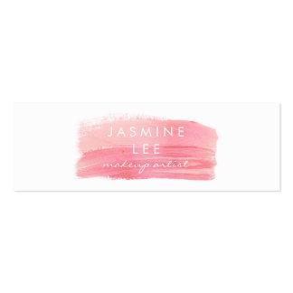 chic modern makeup artist watercolor pink elegant mini business card