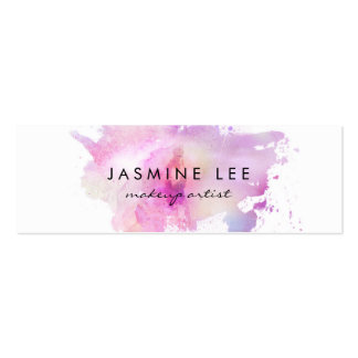 chic modern makeup artist watercolor purple budget mini business card