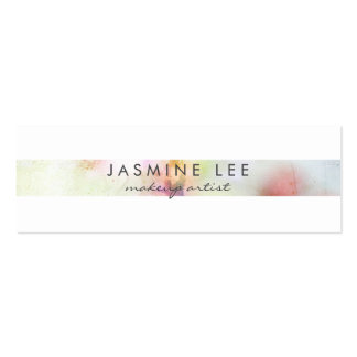 chic modern makeup artist watercolor stripe budget mini business card