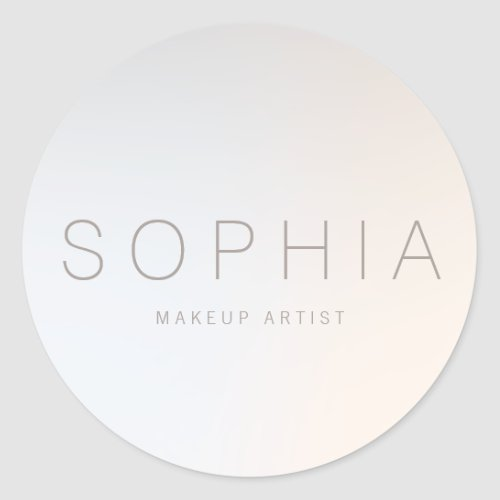Chic Modern Minimalist Beauty Salon Classic Round Sticker