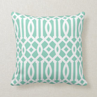 Chic Modern Mint Green and White Imperial Trellis Throw Pillows