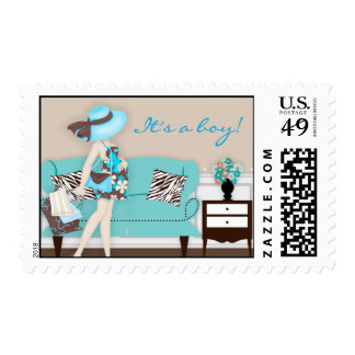 Chic Modern Mom Baby Shower Postage Stamp