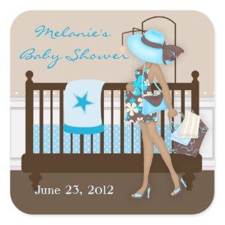 Chic Modern Mom Baby Shower Stickers zazzle_sticker