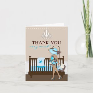 Chic Modern Mom Baby Shower Thank You Card zazzle_card
