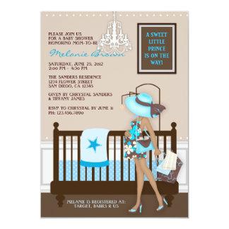 "Chic Modern Mom Contemporary Baby Shower Invite 5"" X 7"" Invitation Card"