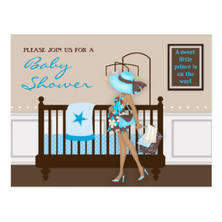 Chic Modern Mom Contemporary Baby Shower Postcard