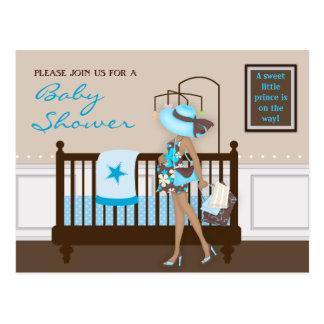 Chic Modern Mom Contemporary Baby Shower Postcard