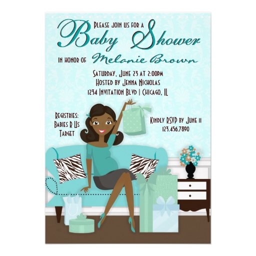 Personalized african american baby shower invitations chic modern mom with gifts baby shower invite negle Images