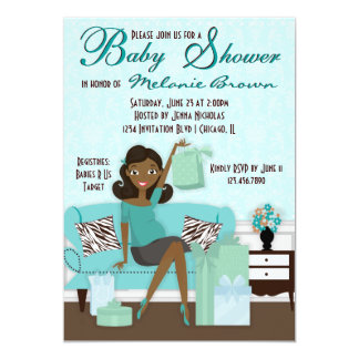 "Chic Modern Mom with Gifts Baby Shower Invite 5"" X 7"" Invitation Card"