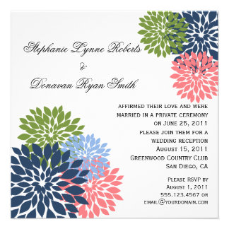 Chic Modern Navy Pink Green Flower Petals Personalized Invites