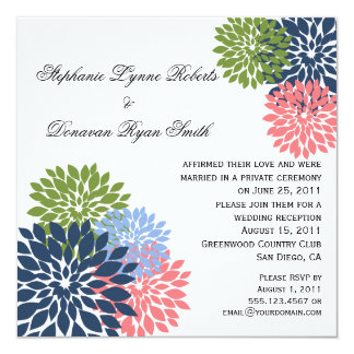"Chic Modern Navy Pink Green Flower Petals 5.25"" Square Invitation Card"