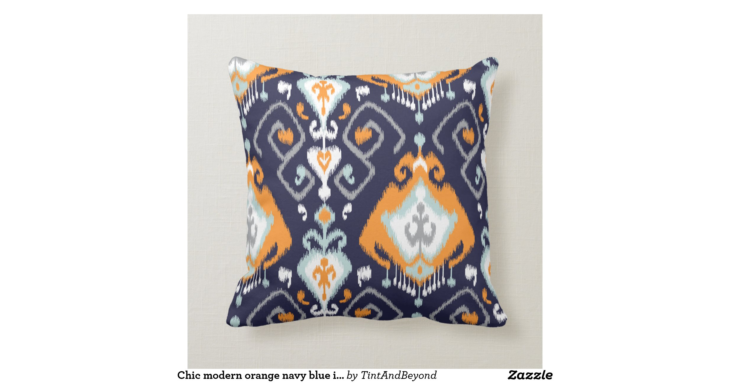 Chic modern orange navy blue ikat tribal pattern pillows Zazzle