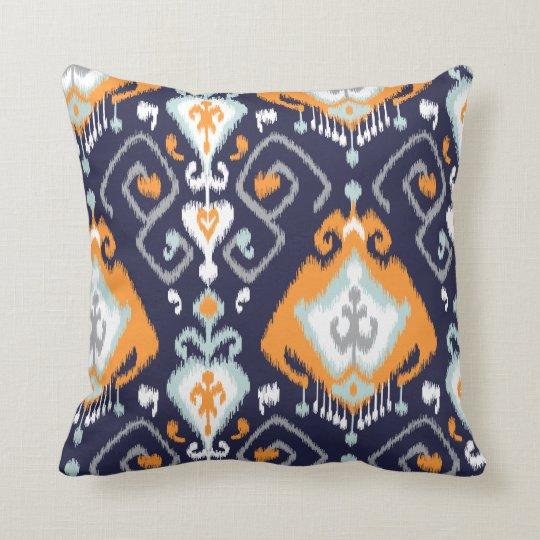Navy Blue And Orange Throw Pillows : Chic modern orange navy blue ikat tribal pattern throw pillow Zazzle
