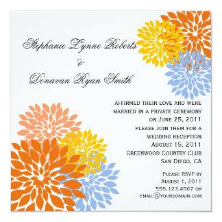 Chic Modern Orange Peach Blue Gold Flower Petals Card